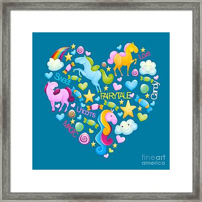 Unicorns And Candy Framed Print by Alondra Hanley