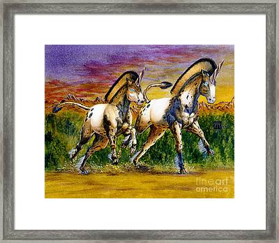 Unicorns In Sunset Framed Print by Melissa A Benson