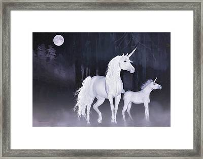 Framed Print featuring the painting Unicorns In The Mist by Valerie Anne Kelly