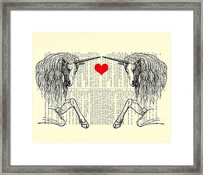 Unicorns Love Framed Print by Madame Memento