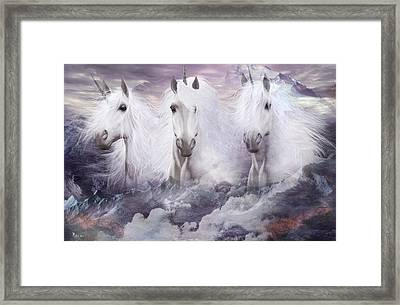 Unicorns Of The Mountains Framed Print