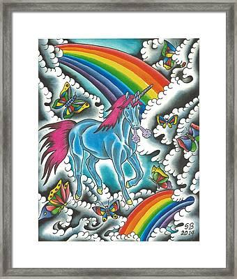Unicorns Rainbows And Butterflies Framed Print by Scott Bohrer