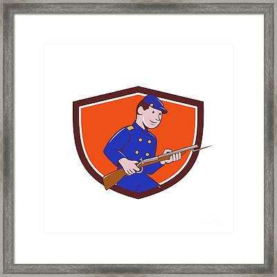 Union Army Soldier Bayonet Rifle Crest Cartoon Framed Print by Aloysius Patrimonio