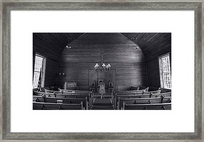 Union Christian Church Sanctuary - Bw Framed Print by Stephen Stookey