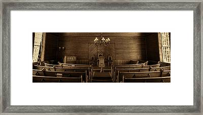 Union Christian Church Sanctuary - Sepia Panoramic Framed Print by Stephen Stookey