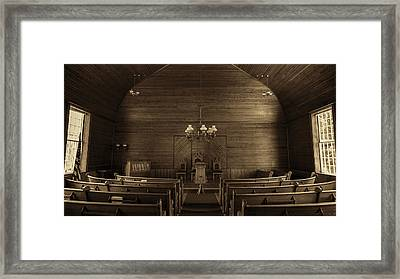 Union Christian Church Sanctuary - Sepia Framed Print by Stephen Stookey