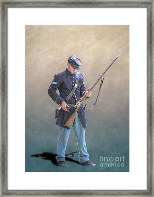 Union Civil War Soldier Reloading Framed Print