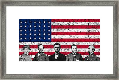 Union Heroes And The American Flag Framed Print