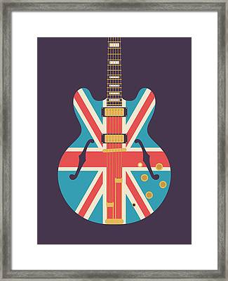 Union Jack Guitar - Alt Black Framed Print by Ivan Krpan