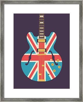 Union Jack Guitar - Alt Black Framed Print
