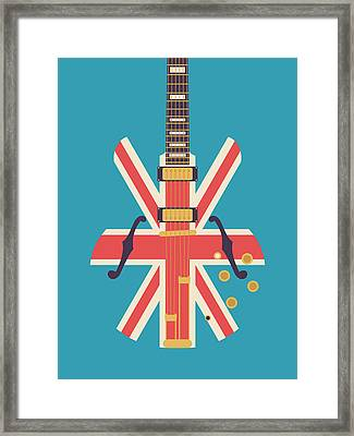 Union Jack Guitar - Alt Blue Framed Print by Ivan Krpan