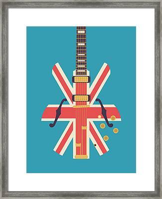 Union Jack Guitar - Alt Blue Framed Print