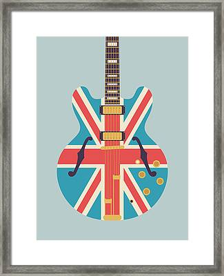 Union Jack Guitar - Alt Grey Framed Print by Ivan Krpan