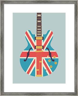 Union Jack Guitar - Alt Grey Framed Print