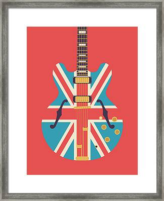 Union Jack Guitar - Alt Red Framed Print