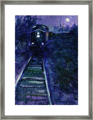 Union Pacific At Night Framed Print