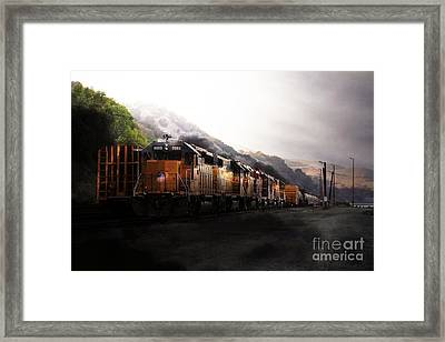 Union Pacific Locomotive At Sunrise . 7d10561 Framed Print