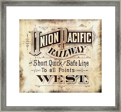 Union Pacific Railroad - Gateway To The West  1883 Framed Print