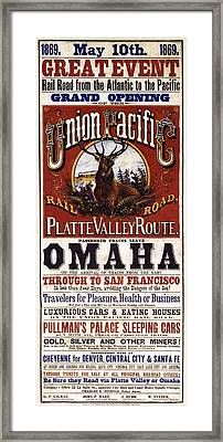 Union Pacific Railroad Opens The West - May 10, 1869 Framed Print