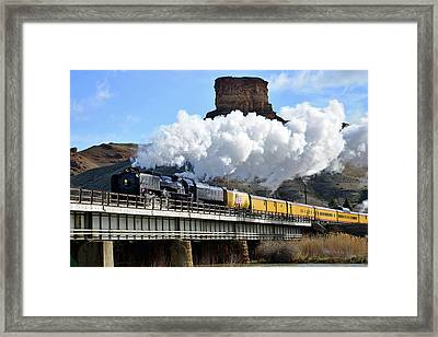 Union Pacific Steam Engine 844 And Castle Rock Framed Print