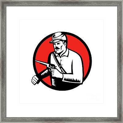 Union Soldier With Pistol Circle Woodcut Framed Print by Aloysius Patrimonio