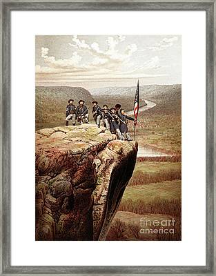 Union Soldiers On Lookout Mountain, Tennessee Framed Print by James Fuller Queen