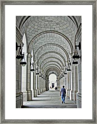 Framed Print featuring the photograph Union Station Exterior Archway by Suzanne Stout
