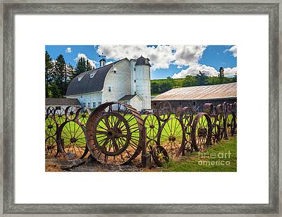 Uniontown Wagon Wheel Fence  Framed Print by Inge Johnsson