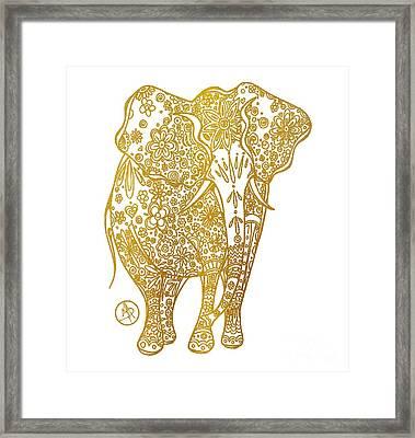 Unique Golden Elephant Art Drawing By Megan Duncanson Framed Print by Megan Duncanson