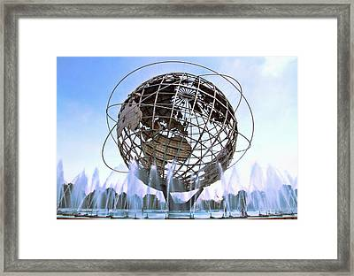 Unisphere With Fountains Framed Print