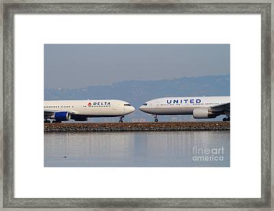 United Airlines And Delta Airlines Jet Airplane At San Francisco International Airport Sfo . 7d12091 Framed Print by Wingsdomain Art and Photography