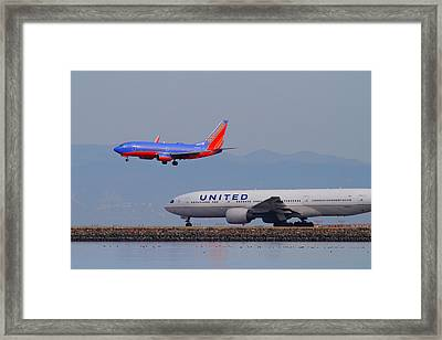 United Airlines And Southwest Airlines Jet Airplane At San Francisco International Airport Sfo.12087 Framed Print