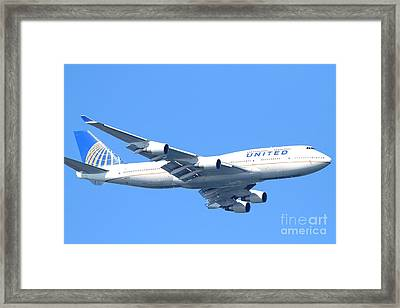 United Airlines Boeing 747 . 7d7852 Framed Print