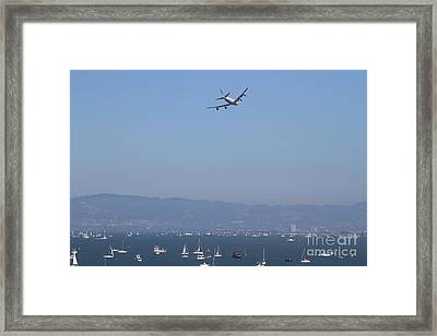 United Airlines Boeing 747 Over The San Francisco Bay At Fleet Week . 7d7860 Framed Print by Wingsdomain Art and Photography