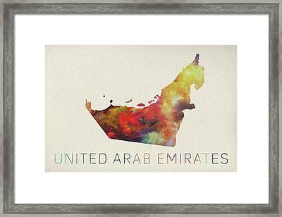 United Arab Emirates Watercolor Map Framed Print