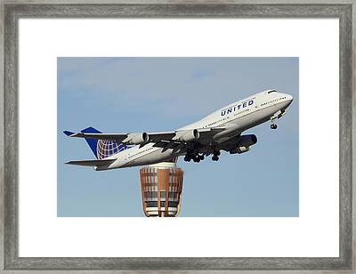 United Boeing 747-422 N128ua Phoenix Sky Harbor January 2 2015 Framed Print