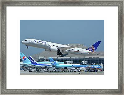 Framed Print featuring the photograph United Boeing 787-9 N27965 Los Angeles International Airport May 3 2016 by Brian Lockett
