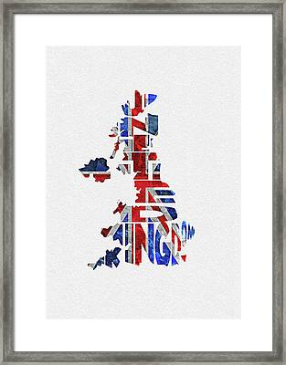 United Kingdom Typographic Kingdom Framed Print