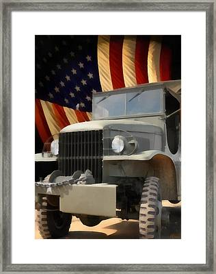 United States Army Truck And American Flag  Framed Print by Anne Kitzman
