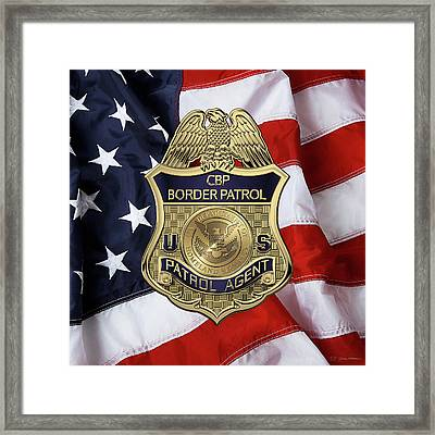United States Border Patrol -  U S B P  Patrol Agent Badge Over American Flag Framed Print by Serge Averbukh