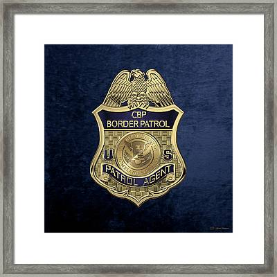 United States Border Patrol -  U S B P  Patrol Agent Badge Over Blue Velvet Framed Print by Serge Averbukh