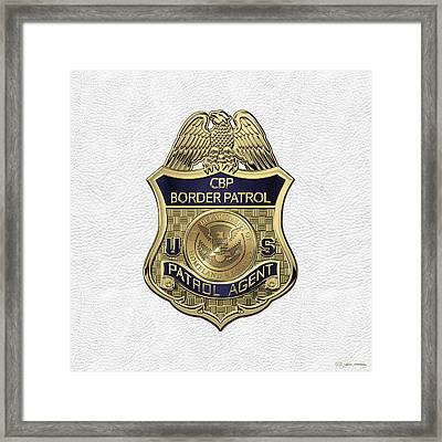 United States Border Patrol -  U S B P  Patrol Agent Badge Over White Leather Framed Print by Serge Averbukh
