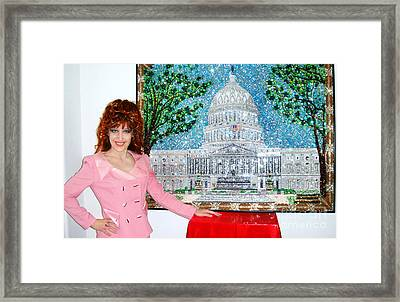 United States Capital Building. Bead Embroidery Framed Print