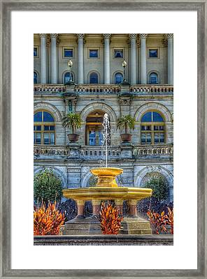 United States Capitol Building - Water Fountain  Framed Print
