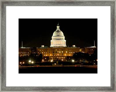 United States Capitol Grounds At Night Framed Print