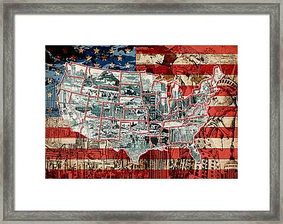 United States Drawing Collage Map 6 Framed Print