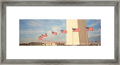 United States Flags At The Base Framed Print