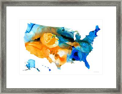 United States Map - America Map 9 - By Sharon Cummings Framed Print by Sharon Cummings