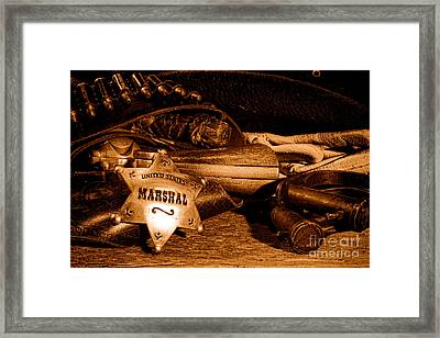United States Marshall Shield - Sepia  Framed Print by Olivier Le Queinec