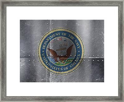 United States Navy Logo On Riveted Steel Boat Side Framed Print by Design Turnpike